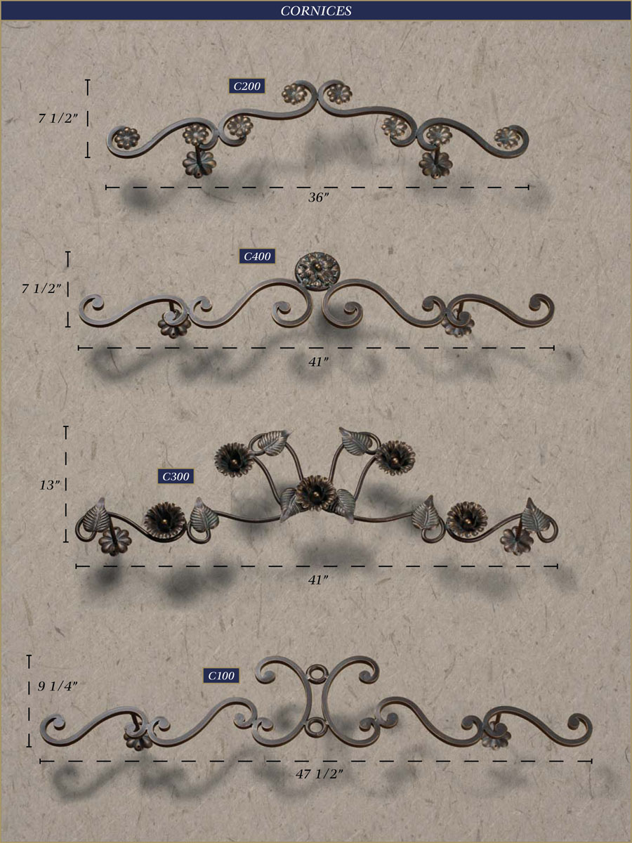 Wrought iron drapery rods - Wrought Iron Cornices