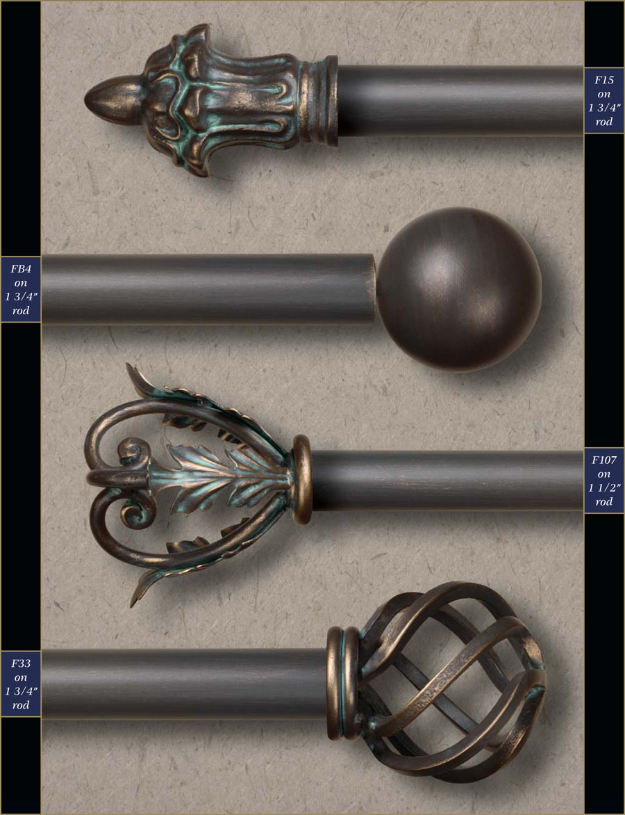1 1 2 wholesale wrought iron curtain rods finials gaby s shoppe. Black Bedroom Furniture Sets. Home Design Ideas