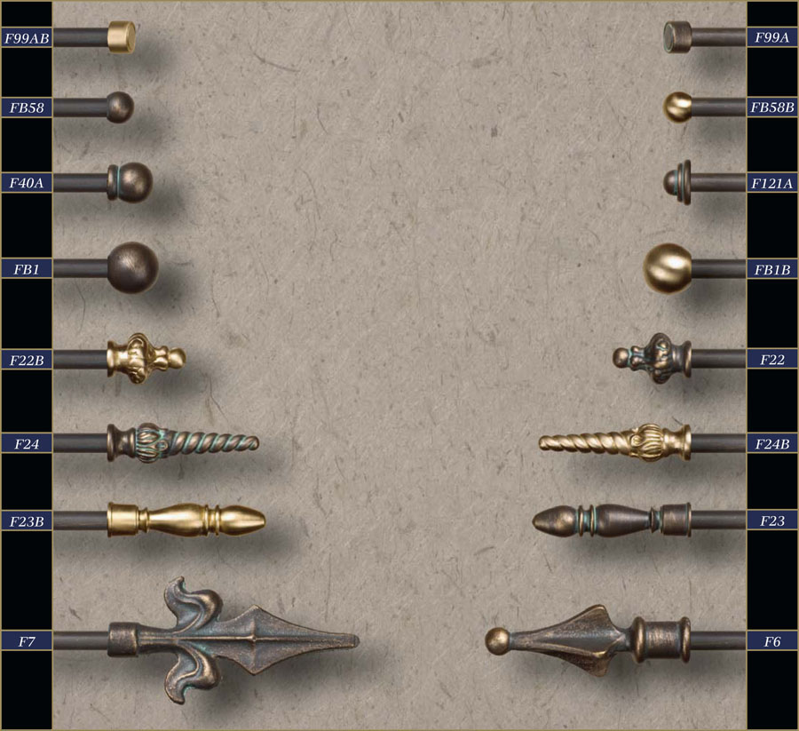 for curtain brass rods finials
